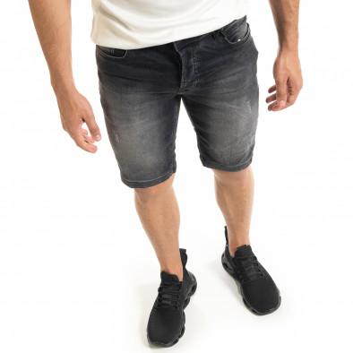 Washed мъжки черни къси дънки tr140520-1 4