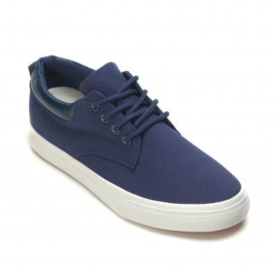 Мъжки спортни обувки тип кецове в синьо с бяла подметка it270416-5 3