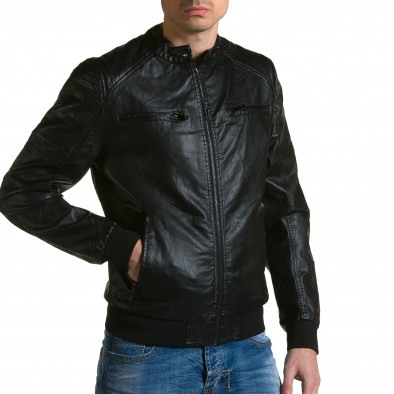 Мъжко черно кожено яке с джобове на гърдите ca190116-36 4