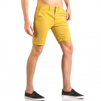 Мъжки жълти къси панталони с италиански джобове ca050416-59 4
