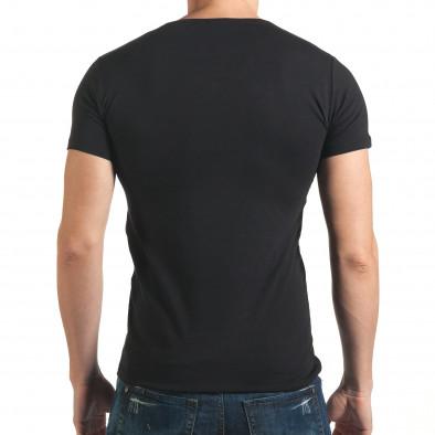 Мъжка тениска черна с голям бял кръст отпред il140416-8 3