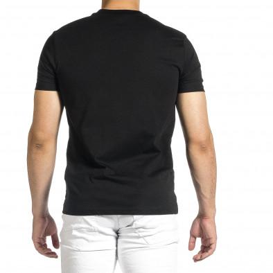 Мъжка черна тениска с гумиран принт tr150521-4 4