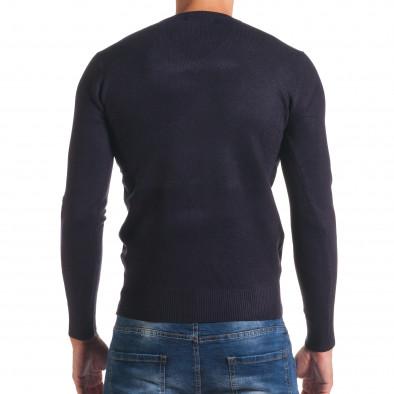 Мъжки син изчистен пуловер с остро деколте it170816-47 3