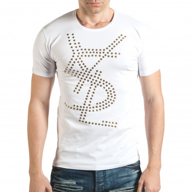 Бяла мъжка тениска с метални капси отпред Lagos 4