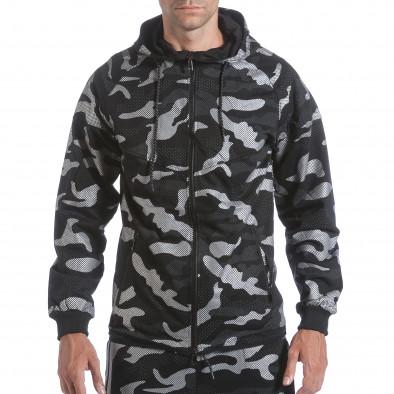 Мъжки спортен комплект черно-сив камуфлаж it160817-70 4