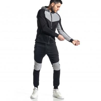 Мъжки черно-бял анцуг Biker style it010221-59 3