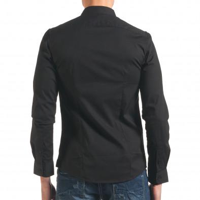 Мъжка риза черна с асиметрично закопчаване it250416-99 3