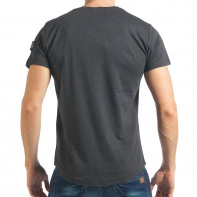 Мъжка тъмно сива тениска Slim fit с малки прокъсвания tsf020218-43 3