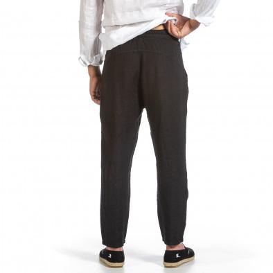Черен ленен панталон с ластик на кръста it240621-41 3