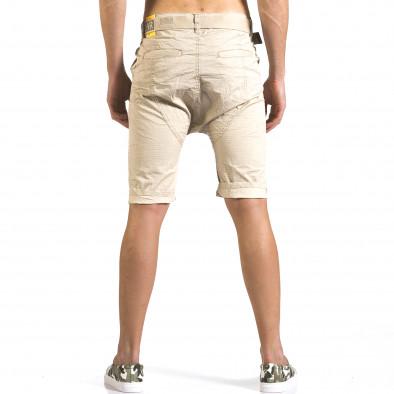 Мъжки бежови къси панталони с колан it110316-42 3