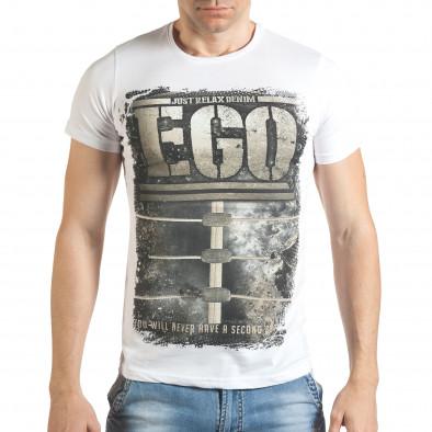 Бяла мъжка тениска с голям бежов принт Just Relax 4