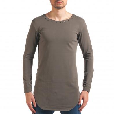 Мъжка зелена блуза с дълъг ръкав и метални капси it250416-77 2