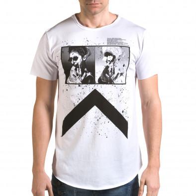 Мъжка издължена бяла тениска с як принт it090216-74 2