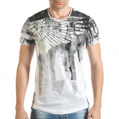 Мъжка бяла тениска с як принт и странични ципове tsf140416-4 2