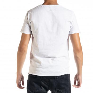 Мъжка тениска от памук и лен в бяло it010720-30 3