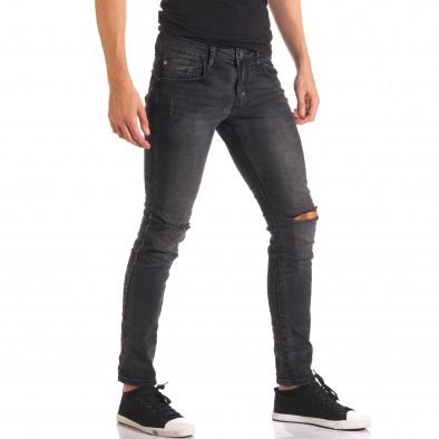 Мъжки тъмно сиви дънки със скъсвания на коленете it150816-16 4