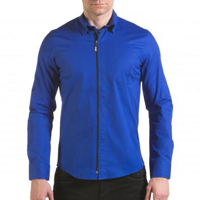 Мъжка синя риза с цип il170216-94 2