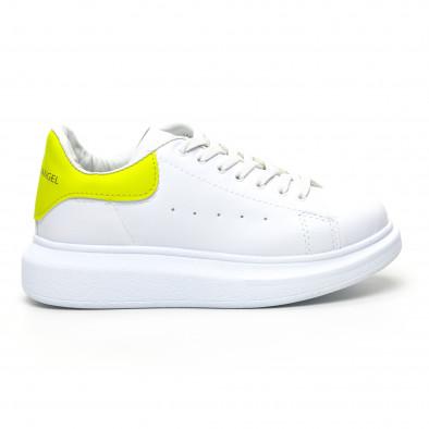 Бели дамски кецове жълта пета tr180320-21 2