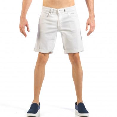 Мъжки бели къси дънки с маншети it260318-122 2