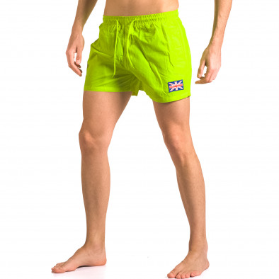 Мъжки ярко зелени бански тип шорти с джобове ca050416-9 4