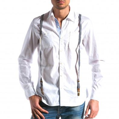 Мъжка бяла риза с тиранти tsf100214-9 2