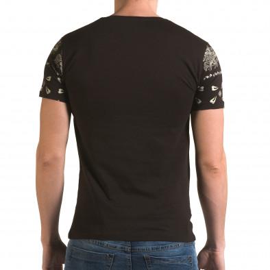 Мъжка кафява тениска с флорални мотиви и надпис il120216-56 3