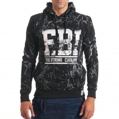 Мъжки черен суичър с надпис FBI it240816-7 2