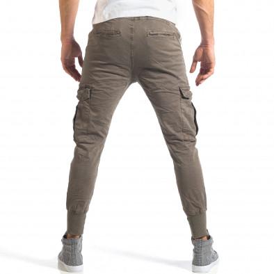 Мъжки зелен карго панталон с контрастни ленти it290118-8 4
