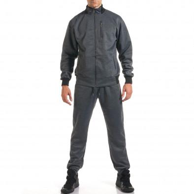 Мъжки тъмно сив спортен комплект с декоративен цип it160916-76 2