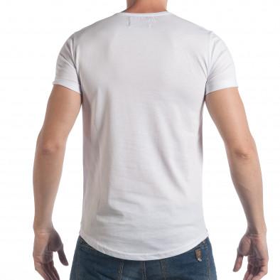 Мъжка тениска бяло-зелен камуфлаж с надпис tsf090617-24 3