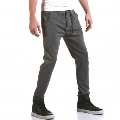 Мъжки светло сив панталон с контрастен ластик it090216-29 4