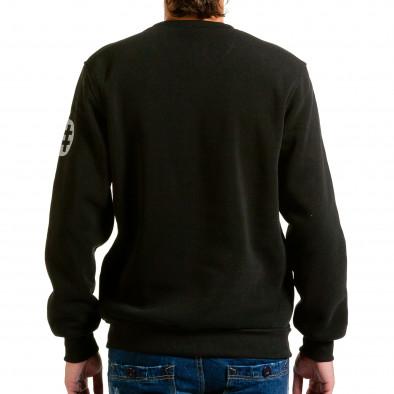 Мъжка черна блуза с декоративни ципове hn240815-57 3