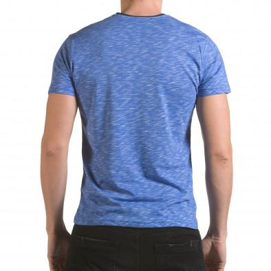 Мъжка синя тениска с тъмно син джоб il170216-14 3