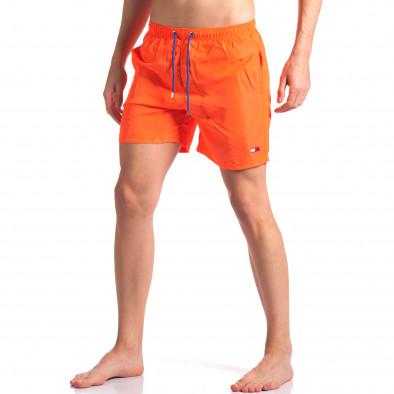 Мъжки неоново оранжеви бански с малка емблема it250416-50 2