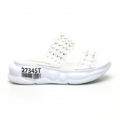 Дамски прозрачни чехли бели шипове tr180320-8 2