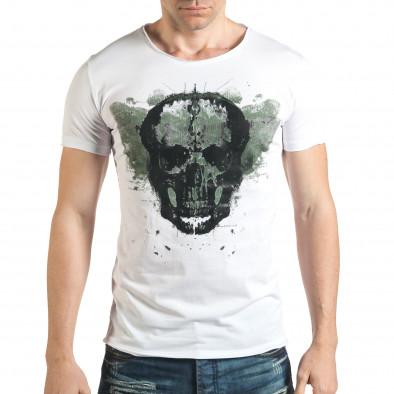 Бяла тениска с голям череп отпред il140416-13 2