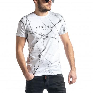 Мъжка бяла тениска Famous tr010221-5 2