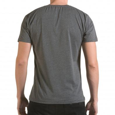 Мъжка сива тениска с релефен надпис Franklin 99 il170216-2 3