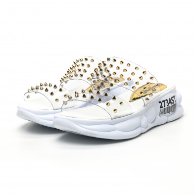Дамски прозрачни чехли златисти шипове tr180320-7 3