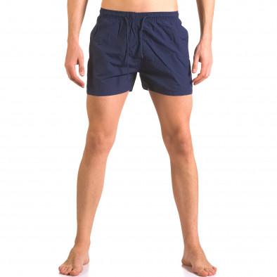 Тъмно сини бански шорти с джобове и бандаж ca050416-6 2