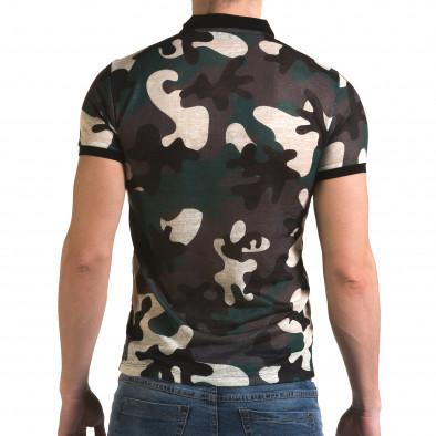 Мъжка тениска с яка зелен камуфлаж il120216-20 3