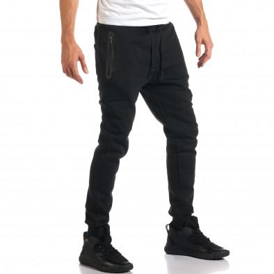 Мъжко черно долнище с ципове на джобовете it160916-26 4