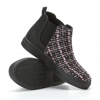 Дамски черни боти с розово-черна текстилна част it110817-4 4