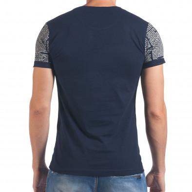Мъжка синя тениска с вестникарски принт Eksi 4