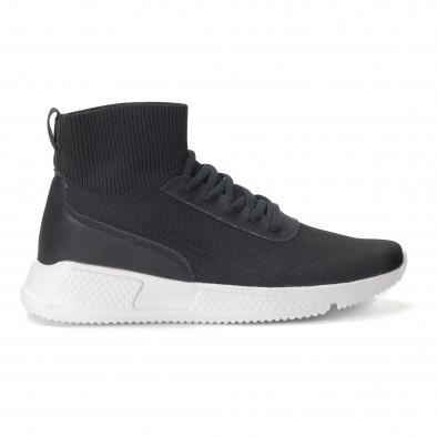 Комбинирани черни мъжки маратонки тип чорап it020618-17 2