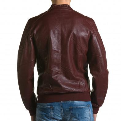 Мъжко червено кожено яке с джобове на гърдите ca190116-35 3