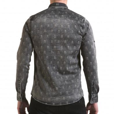 Мъжка риза сив деним с черепи il170216-130 3
