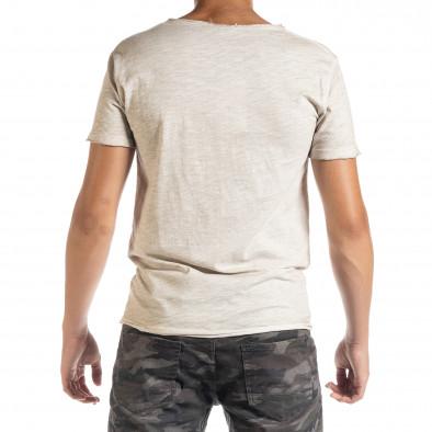 Мъжка тениска от памук и лен в бежово it010720-28 3