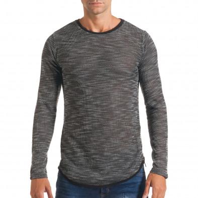 Мъжка тъмно сива блуза със странични ципове it180816-11 2
