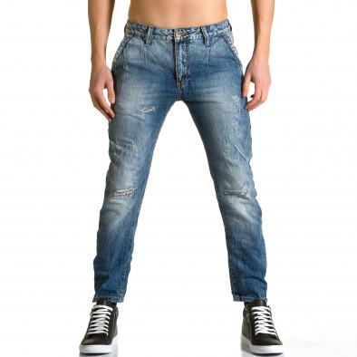 Мъжки светло сини дънки с малки карирани кръпки ca190116-11 2